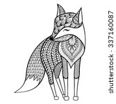 zentangle vector happy fox for... | Shutterstock .eps vector #337160087