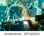 welding robots movement in a... | Shutterstock . vector #337160213