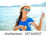 happy young brunette girl... | Shutterstock . vector #337163027