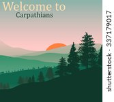 poster carpathian mountains.... | Shutterstock .eps vector #337179017