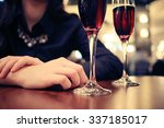Girl At A Restaurant A Glass O...