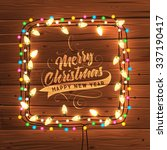 glowing white christmas lights... | Shutterstock .eps vector #337190417
