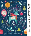vector christmas illustration... | Shutterstock .eps vector #337195427