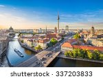 Stock photo aerial view of berlin skyline with famous tv tower and spree river in beautiful evening light at 337203833