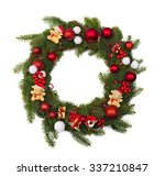 christmas wreath decoration on... | Shutterstock . vector #337210847