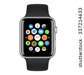Small photo of Varna, Bulgaria - October 15, 2015: Apple Watch Sport 42mm Silver Aluminum Case with Black Sport Band with homescreen on the display. Front view close up studio shot. Isolated on white background.