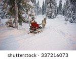 Winter Reindeer Sled Racing In...