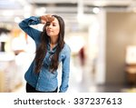happy young woman looking far | Shutterstock . vector #337237613