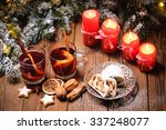 Christmas Mulled Wine On Table...