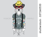 illustration of dog hipster... | Shutterstock .eps vector #337260533