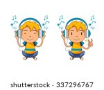 kid listening to music  vector... | Shutterstock .eps vector #337296767