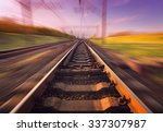 cargo train platform at sunset. ... | Shutterstock . vector #337307987