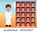 Arab Kid Boy Cartoon Emotion...