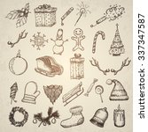 christmas icons set. hand drawn ... | Shutterstock .eps vector #337347587