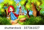 red riding hood on the forest... | Shutterstock .eps vector #337361027
