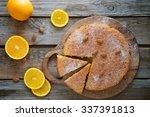 Orange Cake On The Wooden...