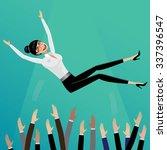 appreciative subordinates toss... | Shutterstock . vector #337396547