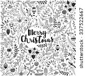 hand drawn christmas card with... | Shutterstock .eps vector #337522667