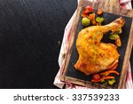 closeup shot of baked chicken... | Shutterstock . vector #337539233