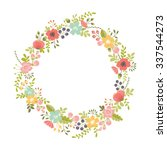 floral wreath isolated on white | Shutterstock .eps vector #337544273