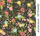 seamless pattern with floral... | Shutterstock .eps vector #337544483