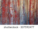 rustic old wooden wall with... | Shutterstock . vector #337592477
