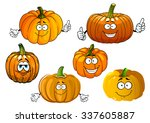 funny orange pumpkin vegetables ... | Shutterstock .eps vector #337605887