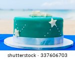 a blue beach themed wedding... | Shutterstock . vector #337606703