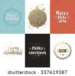 vector christmas and new year... | Shutterstock .eps vector #337619387