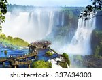 Tourists At Iguazu Falls  One...