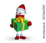 Snowman Holding Wrapped Gift...