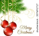 Christmas Background With Red...