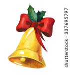 golden watercolor christmas... | Shutterstock . vector #337695797