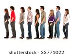 casual group of people queueing ... | Shutterstock . vector #33771022