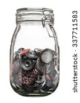 Glass Jar With Old Buttons.