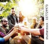 diverse people friends hanging... | Shutterstock . vector #337729973