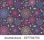 seamless floral pattern  roses... | Shutterstock .eps vector #337736753