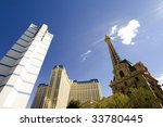 Stock photo looking up to ballys and eiffel tower 33780445