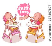 Two Kids In Baby Highchair Wit...