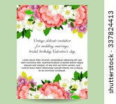 invitation with floral... | Shutterstock . vector #337824413