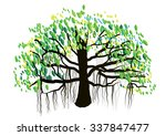 Banyan Tree On White Backgroun...