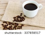 cup of coffe in white mug with... | Shutterstock . vector #337858517