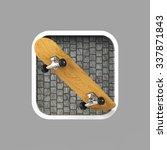 wooden skateboard on...