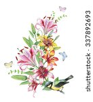 watercolor wreath with lilies... | Shutterstock . vector #337892693