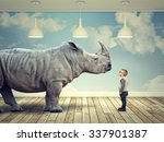 rhinoceros and kid in abstract ... | Shutterstock . vector #337901387