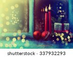 frosted window with christmas... | Shutterstock . vector #337932293