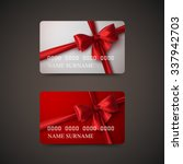 gift cards with red bow and... | Shutterstock .eps vector #337942703