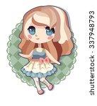 cute blond anime girl | Shutterstock .eps vector #337948793