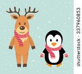 winter deer and penguin with... | Shutterstock .eps vector #337960853