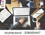 Stock photo man checking emails coffee break concept 338000447
